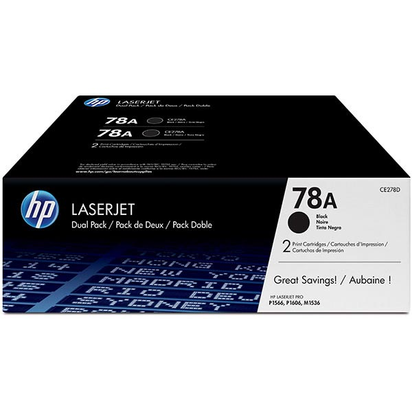 HP CE278AD (HP 78A) Black OEM Smart Print Cartridge (Dual Pack)