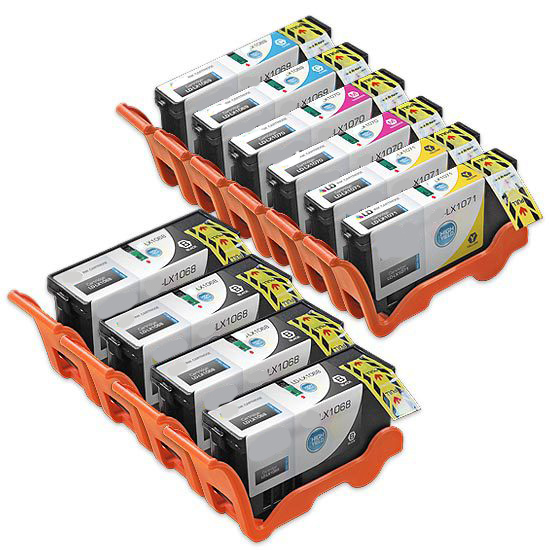 Premium Quality High Capacity BK, C, M, Y (Bulk Package-4 pcs of Bk, 2pcs each of C,M,Y) Inkjet Cartridges compatible with the Lexmark (Lexmark 100XL) 14N1068, 14N1069(70)(71)(72)