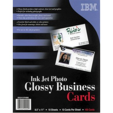 IBM Impreso 01P4886 Photo Glossy Business Cards, Letter, 8.5 in x 11 in, 10up, 10 Sheets, 100 Cards